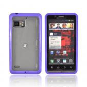 Motorola Droid Bionic XT875 Hard Back Case w/ Gummy Crystal Silicone Lining - Purple/ Frost White