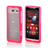 Hot Pink/ Frost White Hard Case w/ Gummy Silicone Border for Motorola Droid RAZR M