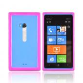 Nokia Lumia 900 Hard Back w/ Crystal Silicone Border - Hot Pink/ Clear
