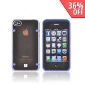 AT&T/ Verizon Apple iPhone 4, iPhone 4S AquaFlex Hybrid Hard Case w/ Crystal Silicone Border & Screen Protector - Blue/ Clear