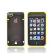 AT&T/ Verizon Apple iPhone 4, iPhone 4S AquaFlex Hybrid Hard Case w/ Crystal Silicone Border & Screen Protector - Yellow/ Clear - XXIP4