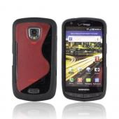 Samsung Droid Charge Hard Back Cover w/ Gummy Border Case - Red/ Black