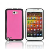 Samsung Galaxy Note Hard Case w/ Gummy Silicone Border - Hot Pink/ Black