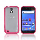 T-Mobile Samsung Galaxy S2 Hard Back w/ Gummy Silicone Border Case - Hot Pink/ Frost White