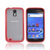 T-Mobile Samsung Galaxy S2 Hard Back w/ Gummy Silicone Border Case - Red/ Frost White