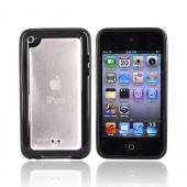 Luxmo Apple iPod Touch 4 Hard Back Case w/ Gummy Crystal Silicone Lining - Clear/Black