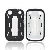 BlackBerry Curve 9310/9320 Silicone Over Hard Case w/ Stand - Black/ White