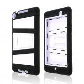 Black Silicone Over White Hard Case w/ Locking Stand & Hand Grips for Google Nexus 7 2