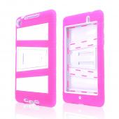 Hot Pink Silicone Over White Hard Case w/ Locking Stand & Hand Grips for Google Nexus 7 2