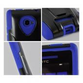 Black Hard Case on Blue Silicone w/ Stand for HTC 8X