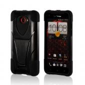 Black Silicone On Black Hard Case w/ Stand for HTC Droid DNA