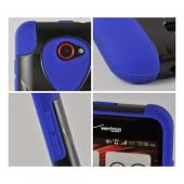 Blue Silicone On Black Hard Case w/ Stand for HTC Droid DNA