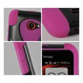 Hot Pink Silicone On Black Hard Case w/ Stand for HTC Droid DNA
