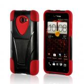 Red Silicone On Black Hard Case w/ Stand for HTC Droid DNA