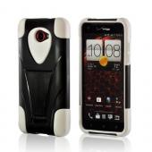 White Silicone On Black Hard Case w/ Stand for HTC Droid DNA