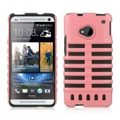 Baby Pink Skeleton Hard Cover on Black Silicone for HTC One