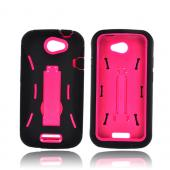HTC One S Silicone Over Hard Case w/ Kickstand - Black/ Hot Pink