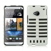White Skeleton Hard Cover on Black Silicone for HTC One