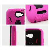 HTC One X Silicone Over Hard Case w/ Stand - Black/ Hot Pink