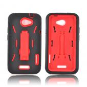HTC One X Silicone Over Hard Case w/ Stand - Black/ Red