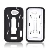 HTC One X Silicone Over Hard Case w/ Stand - Black/ White