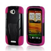 Black Hard Cover on Hot Pink Silicone Case w/ Kickstand for HTC One VX