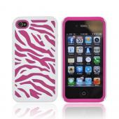 AT&T/ Verizon Apple iPhone 4, iPhone 4S Zebra Shell On Silicone Case - White/ Hot Pink Zebra