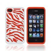 AT&T/ Verizon Apple iPhone 4, iPhone 4S Zebra Shell On Silicone Case - White/ Orange Zebra