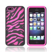 Apple iPhone 5/5S Zebra Shell on Silicone Case - Black/ Hot Pink Zebra