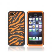 Apple iPhone 5/5S Zebra Shell on Silicone Case - Black/ Orange Zebra