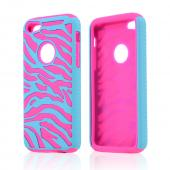Turquoise Zebra Shell on Hot Pink Silicone Skin Case for Apple iPhone 5C