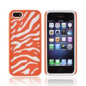 Apple iPhone 5/5S Zebra Shell on Silicone Case - Orange/ White