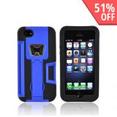 Apple iPhone 5/5S Silicone Over Hard Case w/ Bottle Opener  ID Holder & Stand - Blue/ Black
