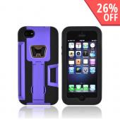 Apple iPhone 5/5S Silicone Over Hard Case w/ Bottle Opener  ID Holder & Stand - Purple/ Black