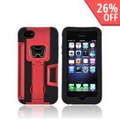 Apple iPhone 5/5S Silicone Over Hard Case w/ Bottle Opener  ID Holder & Stand - Red/ Black