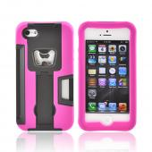 Apple iPhone 5/5S Silicone Over Hard Case w/ Bottle Opener  ID Holder & Stand - Hot Pink/ Black