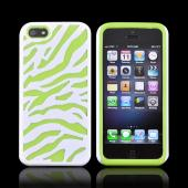Apple iPhone 5/5S Zebra Shell on Silicone Case - White/ Green