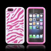 White Zebra Shell on Hot Pink Silicone Skin Case for Apple iPhone 5/5S