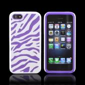 Apple iPhone 5/5S Zebra Shell on Silicone Case - White/ Purple Zebra
