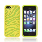 Apple iPhone 5/5S Zebra Shell on Silicone Case - Yellow/ Green