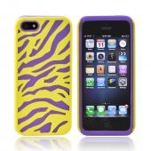Apple iPhone 5/5S Zebra Shell on Silicone Case - Yellow/ Purple