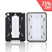 Apple iPad Mini Silicone Over Hard Case w/ Vertical Stand - Black/ White