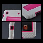 White/ Hot Pink Silicone Over Hard Case w/ Locking Stand & Hand Grips for Apple iPad Mini