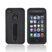 AT&T/ Verizon Apple iPhone 4, iPhone 4S Silicone Over Hard Case - Black