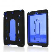 Black Silicone Skin Case on Blue Hard Case w/ Kickstand for Apple iPad Mini 2