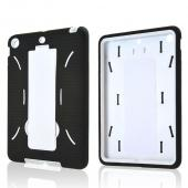 Black Silicone Skin Case on White Hard Case w/ Kickstand for Apple iPad Mini 2