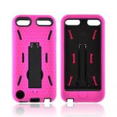 Apple iPod Touch 5 Silicone Over Hard Case w/ Kickstand - Hot Pink/ Black