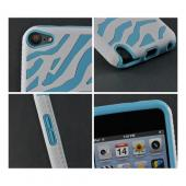White/ Sky Blue Zebra Hard Shell on Silicone Case for Apple iPod Touch 5