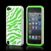 White/ Neon Green Zebra Hard Shell on Silicone Case for Apple iPod Touch 5