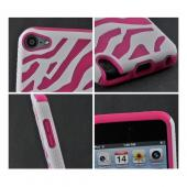 White/ Hot Pink Zebra Hard Shell on Silicone Case for Apple iPod Touch 5